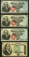 Fr. 1376 50¢ Fourth Issue Stanton Three Examples Fine-Very Fine or Better; Fr. 1379 50¢ Fourth Issue Dexter Ve...