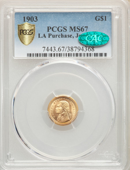 1903 G$1 JEFF CAC PCGS Secure 67 PCGS