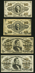 Fr. 1255 10¢ Third Issue Two Examples Very Fine or Better; Fr. 1295 25¢ Third Issue Extremely Fine; Fr. 1296 2...