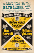 Music Memorabilia:Posters, Buddy Holly & The Crickets Stunningly Rare 1959 Winter Dance Party Concert Poster....