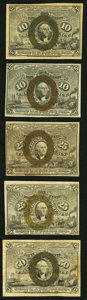 Fractional Currency:Second Issue, Fr. 1244 10¢ Second Issue Very Fine Two Examples Very Fine or Better;. Fr. 1284 25¢ Second Issue Very Fine;. Fr. 1286 ... (Total: 5 notes)