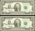 Mary Ellen Withrow Courtesy Autographed Fr. 1936-F $2 1995 Federal Reserve Notes. Two Consecutive Examples. Choice Crisp...
