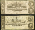 Confederate Notes:1862 Issues, T51 $20 1862 Very Fine;. T52 $10 1862 Very Fine-Extremely Fine.. ... (Total: 2 notes)