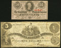 T36 $5 1861 Fine-Very Fine; T63 50 Cents 1863 Choice About New