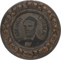 """Political:Ferrotypes / Photo Badges (pre-1896), Abraham Lincoln: The Sought-after Largest Size of """"Doughnut"""" Ferrotype. ..."""