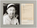 Autographs:Letters, 1934 John Marana Contract Signed by Eddie Collins (Display)....