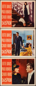 "Movie Posters:Crime, Deception (Warner Bros., 1946). Very Fine. Lobby Cards (3) (11"" X 14""). Crime.. ... (Total: 3 Items)"