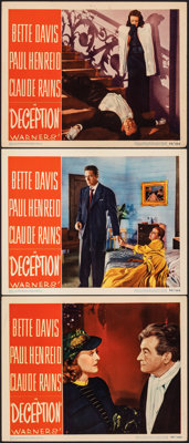 """Deception (Warner Bros., 1946). Very Fine. Lobby Cards (3) (11"""" X 14""""). Crime. ... (Total: 3 Items)"""