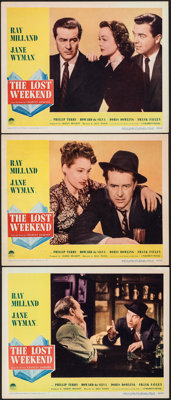 "The Lost Weekend (Paramount, 1945). Very Fine-. Lobby Cards (3) (11"" X 14""). Academy Award Winners. ... (Total..."