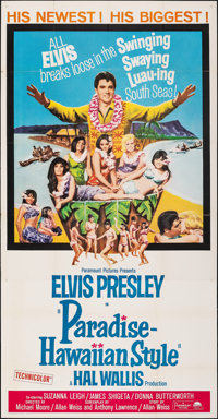 "Paradise -- Hawaiian Style (Paramount, 1966). Folded, Very Fine-. Three Sheet (41"" X 79""). Elvis Presley"