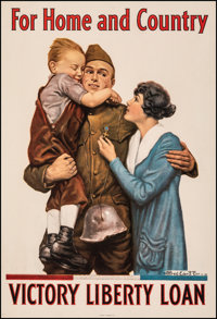 "World War I Propaganda (U.S. Government Printing Office, 1918). Very Fine on Linen. Victory Loan Poster (20"" X 30&q..."