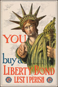 "Movie Posters:War, World War I Propaganda (U.S. Government Printing Office, 1917). Fine/Very Fine. Liberty Bond Poster (20"" X 30"") ""You Buy a L..."