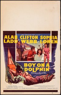 "Boy on a Dolphin & Other Lot (20th Century Fox, 1957). Folded, Fine+. Window Cards (2) (14"" X 22"") &am..."