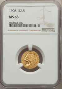 1908 $2 1/2 MS63 NGC. NGC Census: (1512/1747). PCGS Population: (1711/2183). CDN: $525 Whsle. Bid for NGC/PCGS MS63. Min...