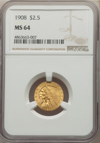 1908 $2 1/2 MS64 NGC. NGC Census: (1320/427). PCGS Population: (1482/701). CDN: $905 Whsle. Bid for NGC/PCGS MS64. Minta...