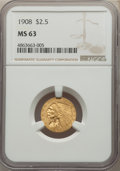 Indian Quarter Eagles: , 1908 $2 1/2 MS63 NGC. NGC Census: (1512/1747). PCGS Population: (1711/2183). CDN: $525 Whsle. Bid for NGC/PCGS MS63. Mintag...