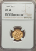 1899 $2 1/2 MS64 NGC. NGC Census: (158/118). PCGS Population: (171/125). CDN: $600 Whsle. Bid for NGC/PCGS MS64. Mintage...