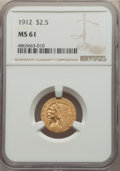 Indian Quarter Eagles: , 1912 $2 1/2 MS61 NGC. NGC Census: (2382/4501). PCGS Population: (558/3139). MS61. Mintage 616,000. ...