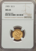 Liberty Quarter Eagles: , 1905 $2 1/2 MS65 NGC. NGC Census: (695/457). PCGS Population: (768/447). MS65. Mintage 217,800. ...