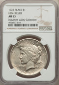 1921 $1 High Relief AU53 NGC. Ex: Maumee Valley Collection. NGC Census: (333/13771). PCGS Population: (447/17211). CDN:...