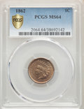 1862 1C MS64 PCGS. PCGS Population: (755/391). NGC Census: (542/226). MS64. Mintage 28,075,000. ...(PCGS# 2064)
