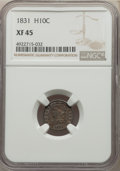 Bust Half Dimes: , 1831 H10C XF45 NGC. NGC Census: (21/681). PCGS Population: (92/868). XF45. Mintage 1,200,000. ...