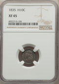 Bust Half Dimes: , 1835 H10C Large Date, Large 5C, XF45 NGC. NGC Census: (32/668). PCGS Population: (41/545). XF45. Mintage 2,760,000. ...