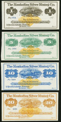 Obsoletes By State:Nevada, Austin, NV- Manhattan Silver Mining Co. $1; $5; $10; $20 187_ Remainders Choice Crisp Uncirculated.. ... (Total: 4 notes)