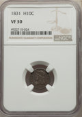 1831 H10C VF30 NGC. NGC Census: (9/717). PCGS Population: (26/1037). VF30. Mintage 1,200,000. ...(PCGS# 4278)