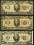 Small Size:World War II Emergency Notes, Fr. 2305 $20 1934A Hawaii Federal Reserve Notes. Three Examples. Fine or Better.. ... (Total: 3 notes)