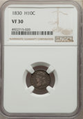 1830 H10C VF30 NGC. NGC Census: (10/531). PCGS Population: (25/798). VF30. Mintage 1,200,000. ...(PCGS# 4277)