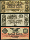 New Orleans, LA- New Orleans Canal and Banking Company $10 18__ , Three Remainders Choice Crisp Uncirculated. ... (Total...