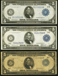 Fr. 850 $5 1914 Federal Reserve Note Very Fine; Fr. 852 $5 1914 Federal Reserve Note Very Fine+;