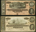 T67 $20 1864 Very Fine; T68 $10 1864 About Uncirculated. ... (Total: 2 notes)