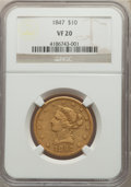 1847 $10 VF20 NGC. NGC Census: (2/1279). PCGS Population: (5/1027). VF20. Mintage 862,258. ...(PCGS# 8597)