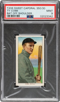 1909-11 T206 Sweet Caporal 350/30 Ty Cobb (Bat Off Shoulder) PSA Mint 9