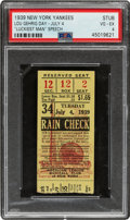 Baseball Collectibles:Tickets, 1939 Lou Gehrig Day New York Yankees Ticket Stub, PSA VG-EX 4....