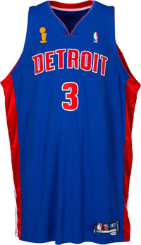 2004-05 Ben Wallace NBA Finals Game Worn Detroit Pistons Jersey - Photo Matched to 7 Playoff Games
