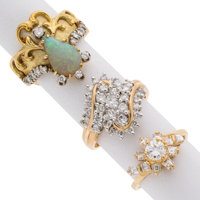 Diamond, Opal, Gold Rings ... (Total: 3 Items)