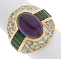 Estate Jewelry:Rings, Amethyst, Green Tourmaline, Diamond, Gold Ring. ...