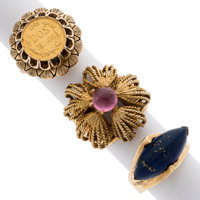 Multi-Stone, Gold Coin, Gold Rings ... (Total: 3 Items)