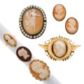 Estate Jewelry:Lots, Shell Cameo, Pearl, Gold, Silver Jewelry Lot . ... (Total: 6 Items)