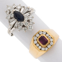 Ruby, Sapphire, Diamond, Gold Rings ... (Total: 2 Items)