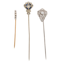 Diamond, Synthetic Sapphire, Platinum, Gold Stickpins ... (Total: 3 Items)