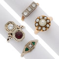 Estate Jewelry:Rings, Diamond, Garnet, Cultured Pearl, Glass, Platinum, Gold Rings. ... (Total: 4 Items)