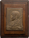 Political:3D & Other Display (1896-present), Theodore Roosevelt: Small Plaque Signed by Tournier....