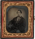 Political:Ferrotypes / Photo Badges (pre-1896), George B. McClellan: Sixth-Plate Tintype of Would-Be Voter Wearing Two Badges....