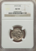 Buffalo Nickels: , 1919-S 5C AU50 NGC. NGC Census: (24/525). PCGS Population: (45/811). CDN: $265 Whsle. Bid for NGC/PCGS AU50. Mintage 7,521,...