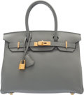"Luxury Accessories:Bags, Hermès 30cm Gris Mouette Togo Leather Birkin Bag with Gold Hardware. X, 2016. Condition: 1. 11.5"" Width x 9.5"" Hei..."