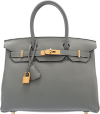 Hermès 30cm Gris Mouette Togo Leather Birkin Bag with Gold Hardware X, 2016 Condition: 1<